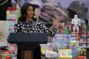 First Lady Michelle Obama Speaks At Toys For Tots Event On Joint Base Anacostia-Bolling