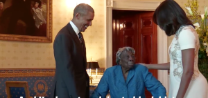 Virginia McLaurin meets President Obama