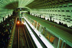 USA, Washington DC, Metro subway station, elevated view