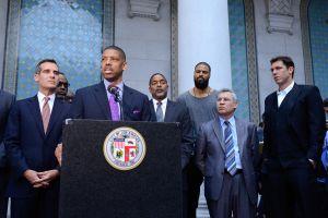 Los Angeles Mayor Eric Garcetti, Sacramento Mayor Kevin Johnson And NBA Players Press Conference