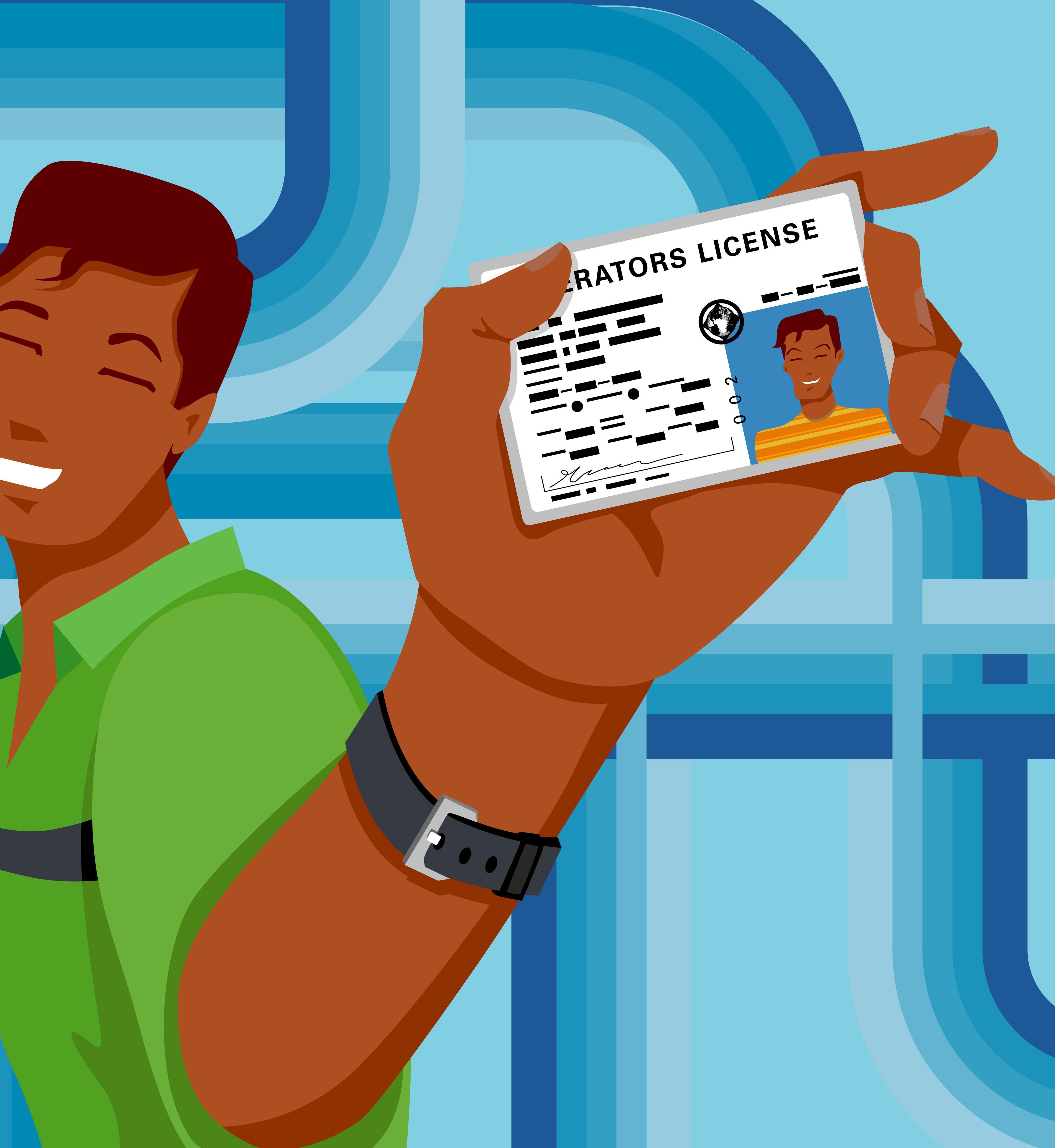 Teenage boy holding driving license