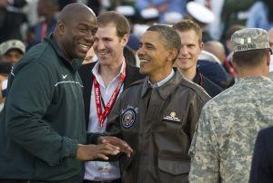 US President Barack Obama talks with for