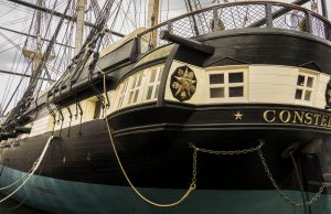 Historic USS Constellation rests at anchor in Baltimores inner Harbor, Baltimore, Maryland, USA