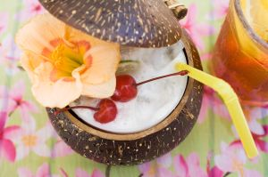 Pina Colada with flower and cherries