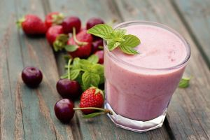Healthy organic food. Strawberry fruit drink smoothie