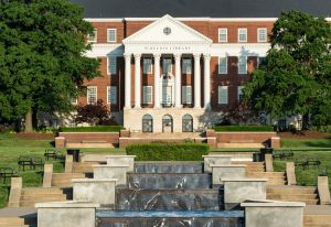 McKeldin Library and fountain, University of Maryland